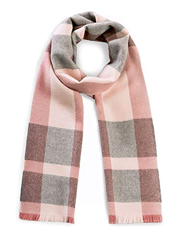Alpaca Wool Scarf - 100% Pure Baby Alpaca Wool - Unearthed Large Plaid with Eyelash Fringe (Merlot Grey) ()