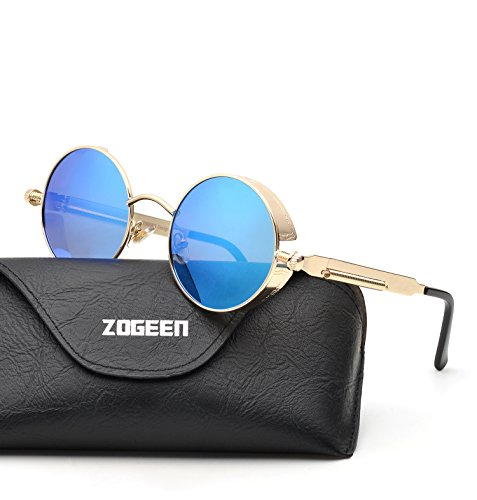 ZOGEEN Polarized Steampunk Round Sunglasses for Men Women Mirrored Lens Metal Frame S2671 - Round Glasses Best Shape For Of Face