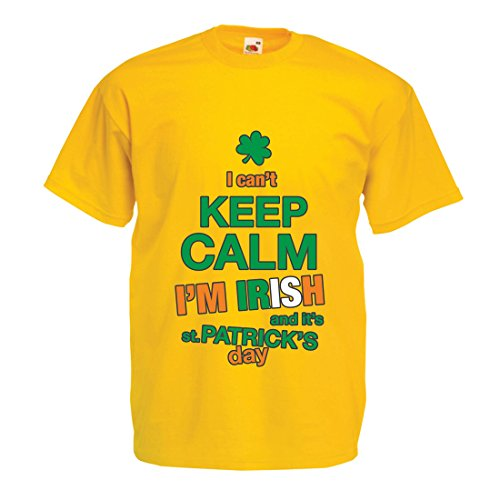 (T Shirts For Men I Can't Keep Calm - I'm Irish - ST. Paddy Day Clothing (Medium Yellow Multi Color))