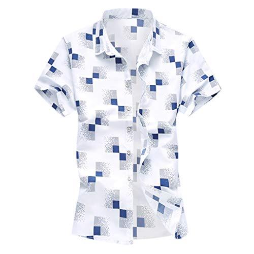 (LUCAMORE Men's Plaid Casual Button Down Short Sleeve Hawaiian Shirt Regular Fit Tops Blouse White)