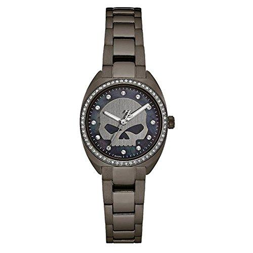 Harley White Davidson Bracelet (Harley-Davidson Women's Crystal Willie G Skull Watch, Gunmetal Finish 78L124)