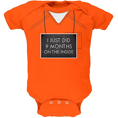 9 Months Inside Prisoner Inmate Costume Orange Soft Baby One Piece - 0-3 months