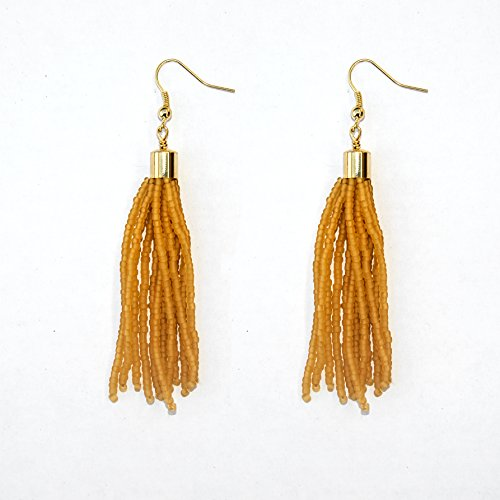 Amber Gold Plated Ring - Amber Matte Golden Seed Beaded Tassel Earring with Shiny 16K Gold Plated Brass Findings