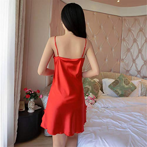 Sangle Souple Spaghetti Zahuihuim De Pour Vêtements Nuit Sexy V Chemise Dentelle Robe Col Femmes Red wAgaqwF