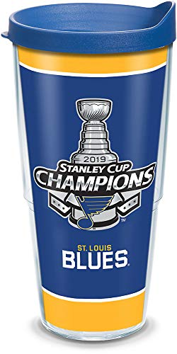 Tervis NHL St. Louis Blues 2019 Stanley Cup Champions Tritan Insulated Tumbler with Wrap and Blue Travel Lid, 24 oz, Clear (Stanley Cup Best Of)