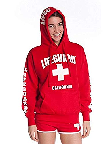 LIFEGUARD Officially Licensed Ladies California Hoodie Sweatshirt Apparel for Women, Teens and Girls (Medium, Red)