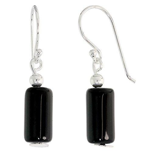 Sterling Silver Dangle Earrings, w/ Beads & Black Obsidian, 1 3/16