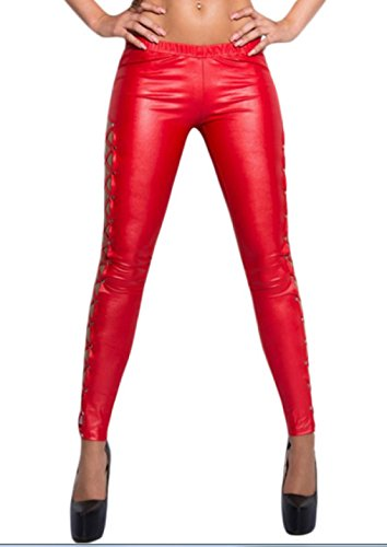 Parte De Modificados Moda Cruzada Cintura Rojo Encaje La Leggings Con Alta Remaches wxr8Uqw