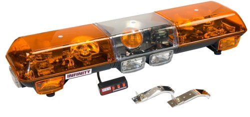 Wolo (7000-A) Infinity 1 Halogen Emergency Warning Light Bar - Amber Lens, Roof Mount