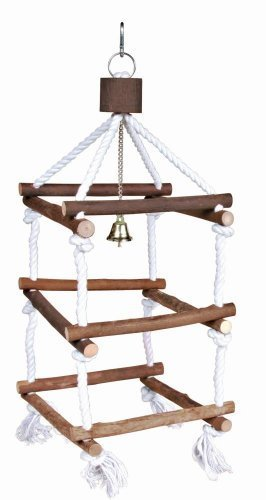 Trixie Natural Living Wooden Bird Tower with Ropes for Pet Parakeets and Cockatiels by Trixie