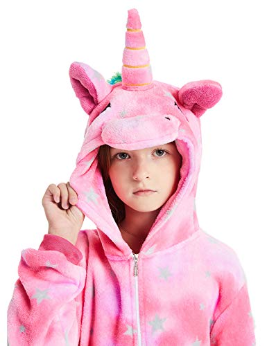 ABENCA Unisex Kids Fleece Onesie Unicorn Pajamas Animal Christmas Halloween Cosplay Costume Sleepwear,Unicorn Pink New, -