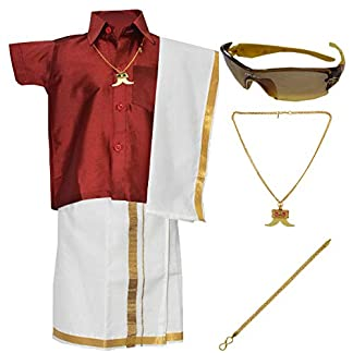 Amirtha Fashion Boys Traditional Dhoti & Shirts SET WITH ACCESSORIES (XU-0TCY-UP67) 41dNnAO6kmL