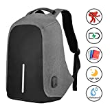 SySrion Travel Laptop Backpack, Business Anti-Theft Computer Backpack with USB Charging Port, Ergonomic Design, Durable, Water Proof, High Capacity, Ideal for Business/Travel/Outdoor/School, Grey