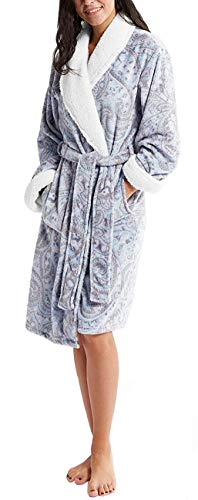 - Plush Robes for Women - Plaid Fleece Ladies Robe Bathrobe, Sherpa Collar & Cuff Trim, Bedouin Gray S/M
