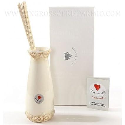 cuorematto – Ambientador con Forma de Jarrón (cerámica blanca con bordes inferior y superior decorado