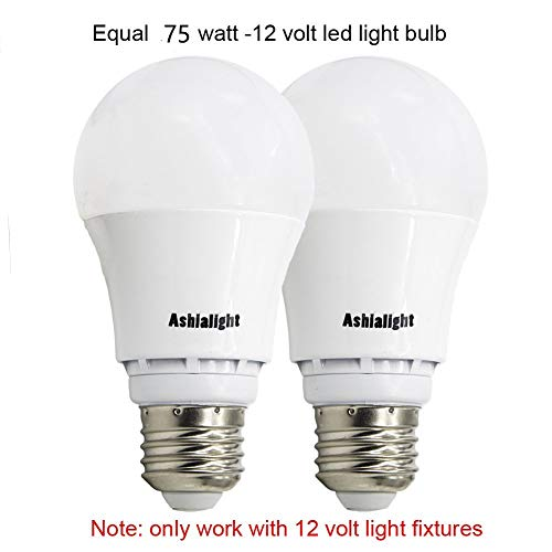 Ashialight 10 Watt (Equal 75 Watt) 12 Volt LED Daylight Bulb Medium Screw Base E26 Low Voltage A19 Bulb for RV Camper Marine,Off Grid Cabin and 12-Volt Solar/Battery System
