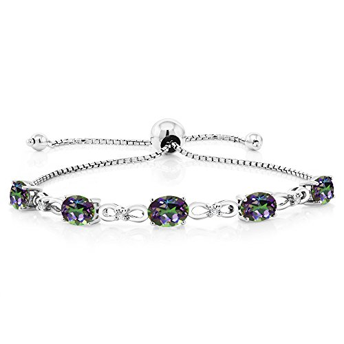925 Sterling Silver Mystic Topaz & Diamond Adjustable Tennis Bracelet, 4.00 Ctw
