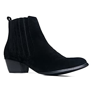 J. Adams Henri Round Toe Ankle Boot, Black Suede, 9 B(M) US
