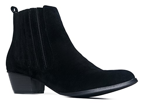 Henri Round Toe Ankle Boot, Black Suede, 9 B(M) US