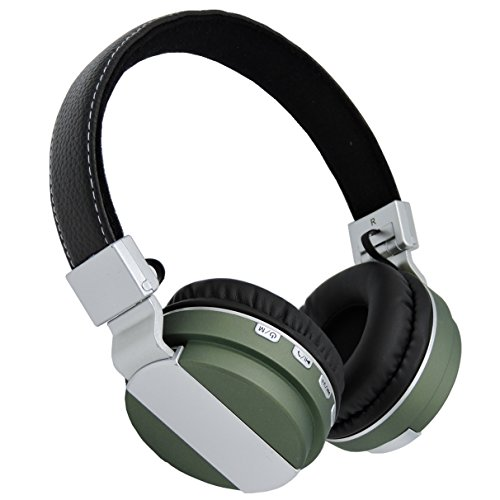 On Ear Wireless Bluetooth Stereo Headphones,Jeselry Foldable Wireless Stereo Headsets, Bluetooth Version 4.0,Powerful Bass Headphones with Detachable Audio Cable 3.5mm,TF ,FM,MIC-Green