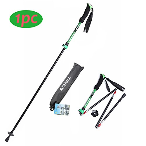 YAHILL Folding Trekking Pole Collapsible Stick Ultralight Adjustable, Alpenstocks with EVA Foam Handle, for Travel Hiking Camping Climbing Backpacking Walking ((Standard- Black&Green) - 1pc)