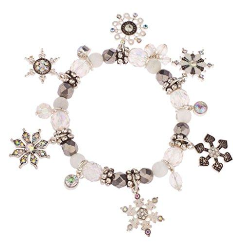 Lux Accessories Frozen Snowflake Christmas Xmas Snow Flake Braded Charm Bracelet -