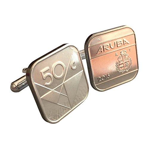 One Cent Coin Cufflinks - Ammo Gift Box Aruba 50 Cent Coin Cufflinks