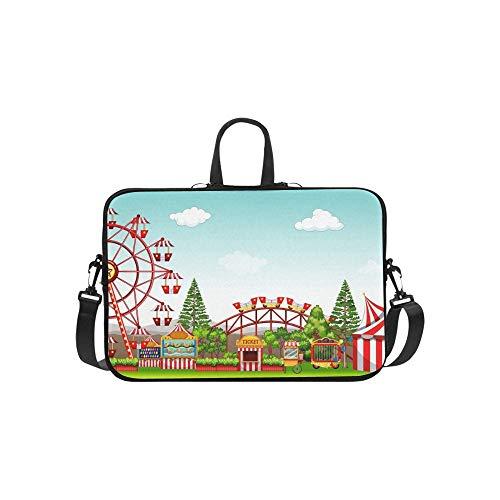 (Amusement Park Daytime Briefcase Laptop Bag Messenger Shoulder Work Bag Crossbody Handbag for Business Travelling)