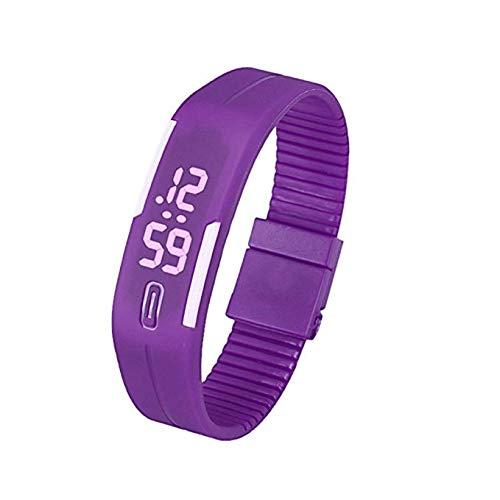 Reloj para Mujer Unisex de Digitaces LED para Hombre, Banda cómoda del silicón del Reloj