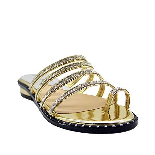 de Moda Aire Sandalias Sandalias Diamantes de 35 Moda Lacitena Sandalias de Planas Playa 41 Verano señoras Libre de al Bohemio imitación Pvw1xn