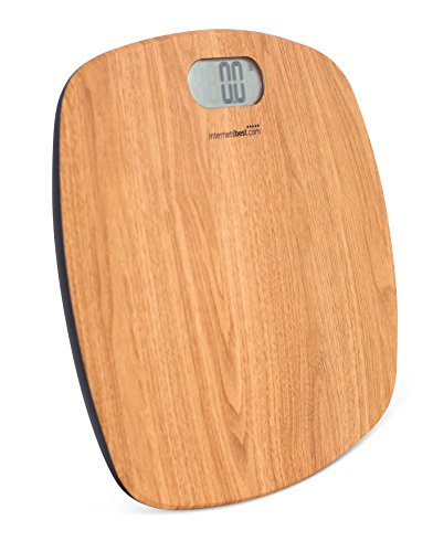 Internet's Best Digital Body Weight Bathroom Scale | ABS Shaped Surface | Bathroom Accessories | Wood Coloring| 400 lbs. Weight Capacity | Lightweight Plastic | Comfortable & Safe