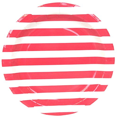 Just Artifacts Round Paper Party Plates 9in (12pcs) - Red Striped - Decorative Tableware for Birthday Parties, Baby Showers, Grad Parties, Weddings, and Life Celebrations! (Paper Striped Plates)