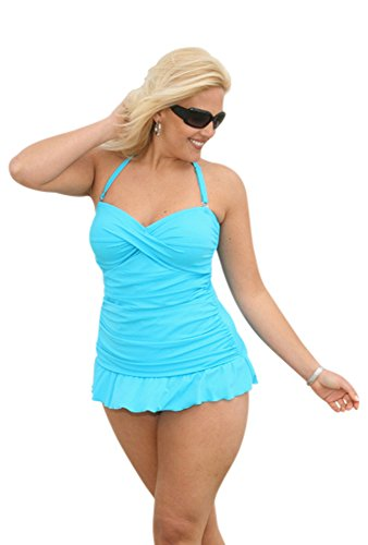 Always For Me Plus Size 2 PC Isabella Swimsuit (Turquoise) by Always For Me