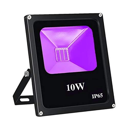 UV Black Light, Escolite 395nm Ultraviolet 10W LED Flood Light Outdoor for Blacklight Run,UV Glow -