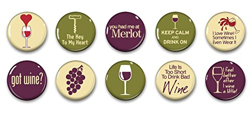 Refrigerator Cellar (Wine Magnets - Mini Magnets - Fridge Magnets - Wine Lover Gift - Wine Art - 10 Magnets - 1 Inch Magnets - Kitchen Magnets)
