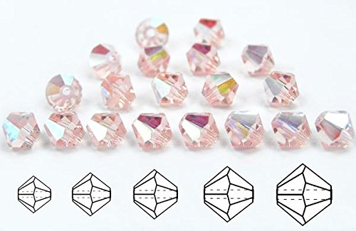 3mm Rosaline AB coated, Czech MC Bicone Beads (Rondell, Diamond Shape Crystals), 2.5 gross = 360 pieces