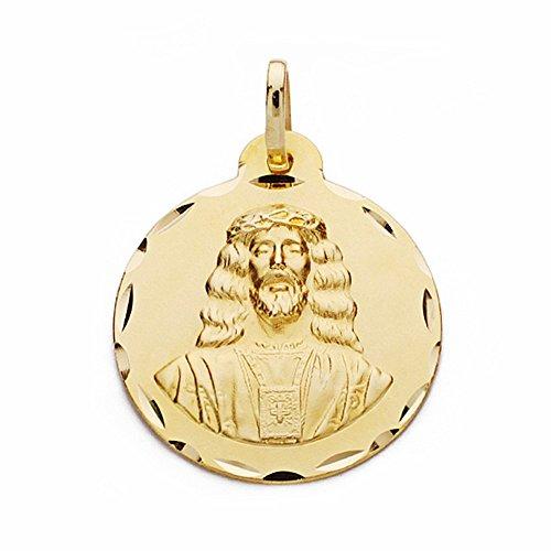 Médaille pendentif 18k 22mm or Medinaceli Christ. sculpté sculptée [AA2544GR] - personnalisable - ENREGISTREMENT inclus dans le prix