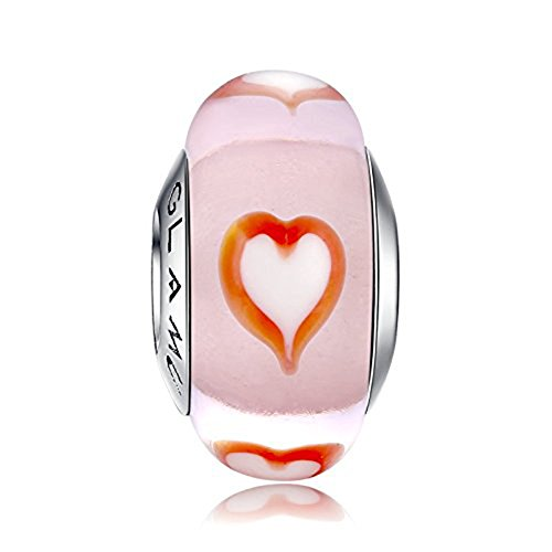 Glamulet Murano Glass Pink Heart Glass Charms Beads for Charm Bracelets 925 Sterling Silver Disney Art Pendant Jewelry (Lampwork Charms Glass)
