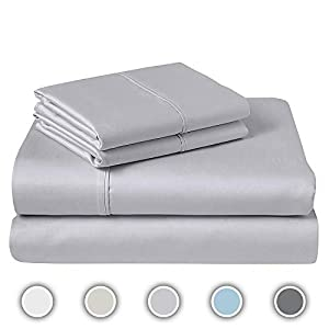 COZERI 600 Thread Count Luxury Sheet Set, 100% Long Staple Cotton, Breathable, Soft & Silky Sateen Weave, Fits Mattress Upto 17″ Deep Pocket, 4 Piece Bed Sheets Set – (King, Silver)
