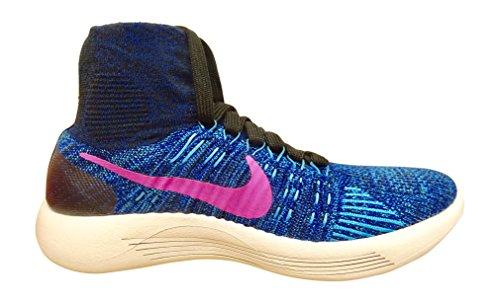 Nike Kvinna Lunarepic Flyknit Löparskor Svart Rosa Blast Blå 004