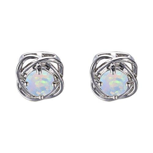 Adeser Jewelry Girls Lab Opal Promise Stud Earring Engagement Wedding Gift Studs Earrings for Girls