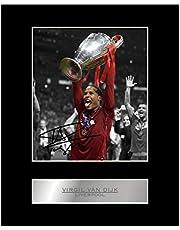 Virgil Van Dijk Gesigneerd Foto Display Liverpool FC Champions League # 1 Gesigneerd Cadeau Afbeelding Print
