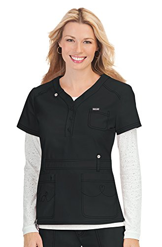 - KOI Classics Women's Kendall Button Front Solid Scrub Top X-Large Black