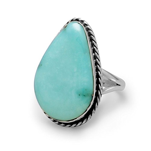 Ring Freeform Silver Setting 925 - Sterling Silver Ring Stabilized Freeform Simulated Turquoise Stone - Size 8