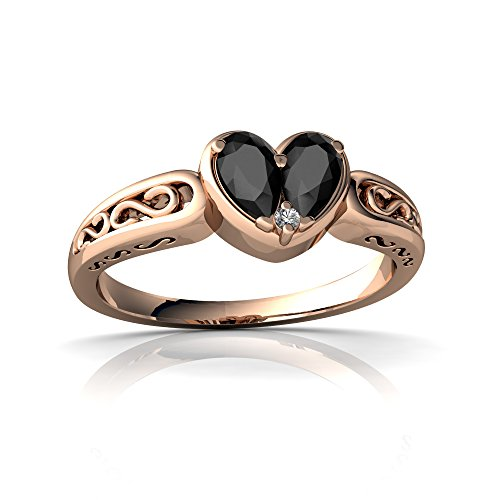14kt Rose Gold Black Onyx and Diamond 5x3mm Pear filligree Heart Ring - Size 9