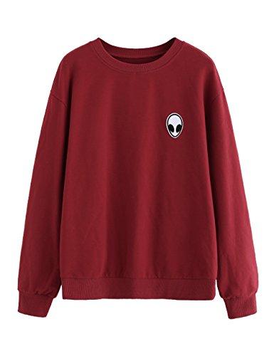 SweatyRocks Women's Sweatshirt Alien Patch Drop Shoulder Long Sleeve Shirt Tops Burgundy XL -