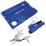 Swiss Card Tool Wallet Credit Card Multitool Bundle with Emergency Escape tool and pocket pliers (Sapphire Blue)