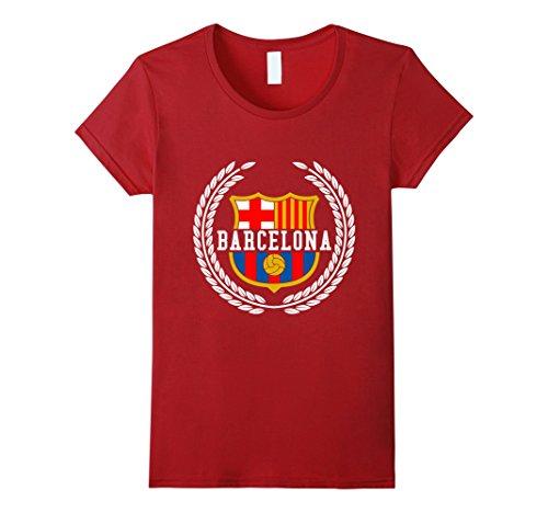 Womens Barcelona Spain Spanish Flag Europe T shirt Small Cranberry (Heather Spanish)