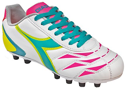 Diadora Women's Capitano LT MD PU Leather Soccer Shoes (7 B(M) US Women's, White / Teal / Yellow / Pink)