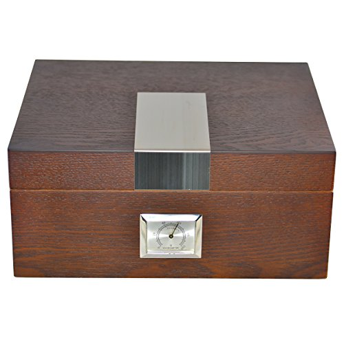 La Cubana Solid Wood Oak Cigar Humidor With Stainless Steel Plate, Holds 30-50 Cigars
